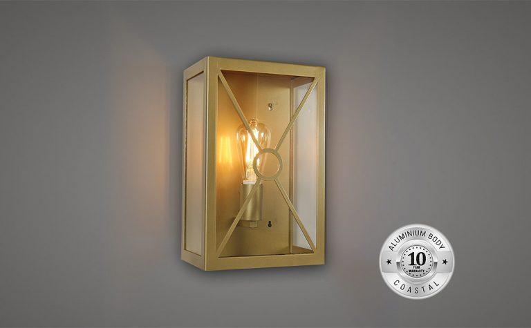 Rectangular small wall lantern with cross shape detail
