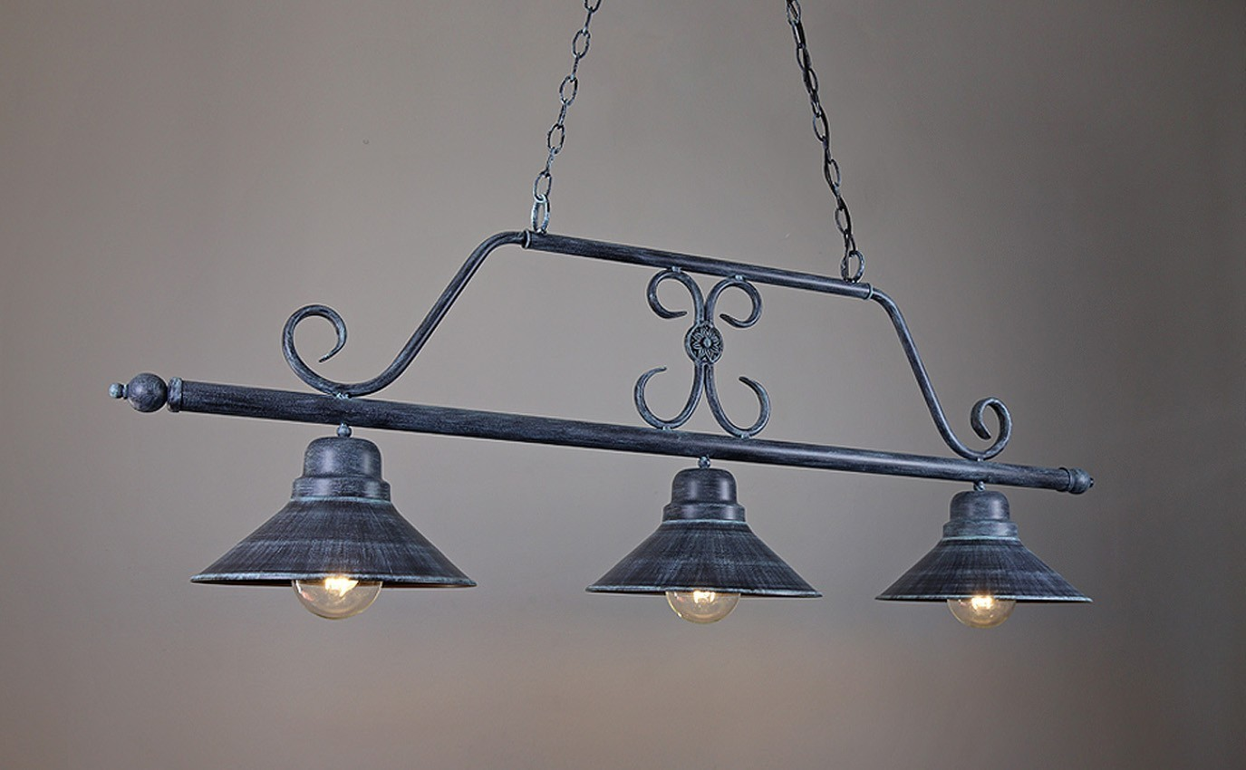 Vaal 3 Light Wrought Iron Kitchen Island Pendant Ada
