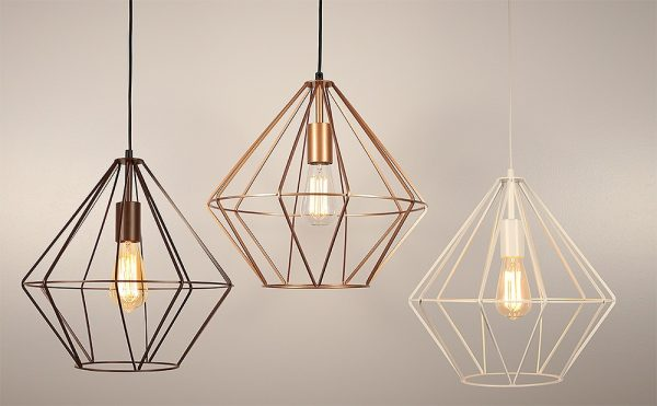 wire pendant light diamond shape