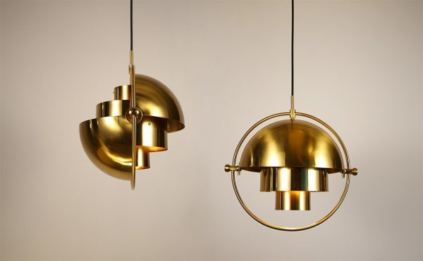 adjustable metal dome pendant light