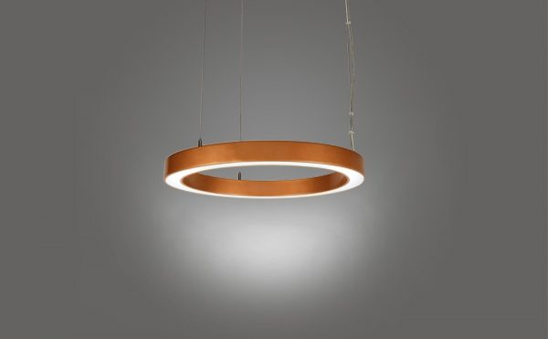 LED ring pendant light copper finish