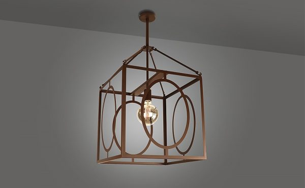 Traditional square frame pendant light