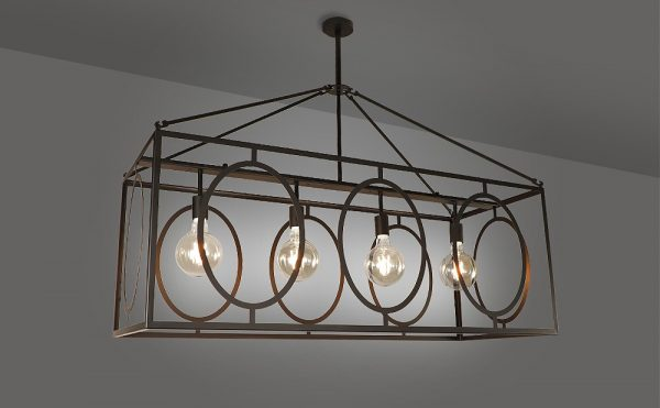 traditional rectangular pendant light 4 light