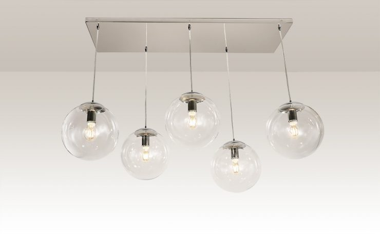 cluster of 5 clear glass ball pendant lights